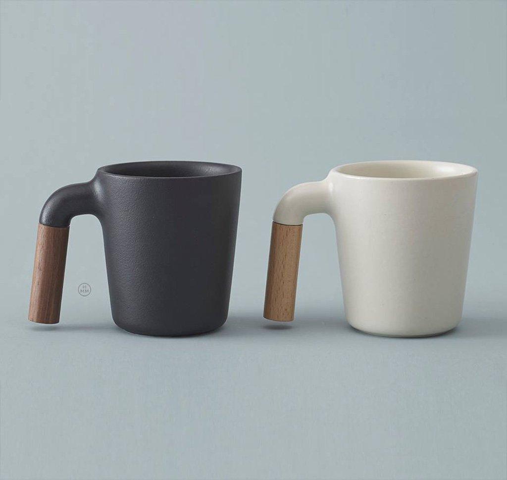 Ceramic Coffee Mug With R Shaped Wooden Handle Gessato