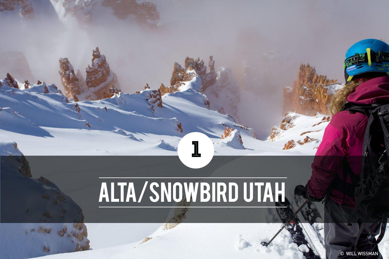 Lexi duPont skiing in the desert of southern Utah
